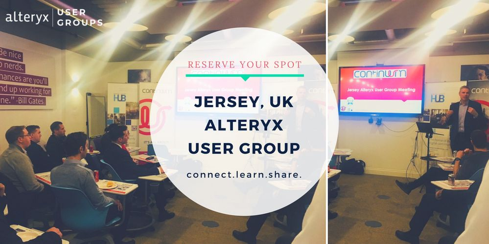 RSVP for the Jersey Alteryx User Group Meeting 16/08