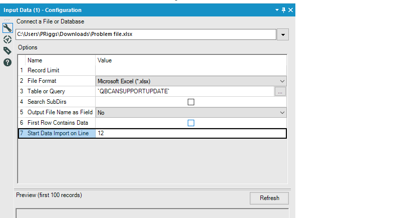 Solved: Skip first rows excel and read headers - Alteryx