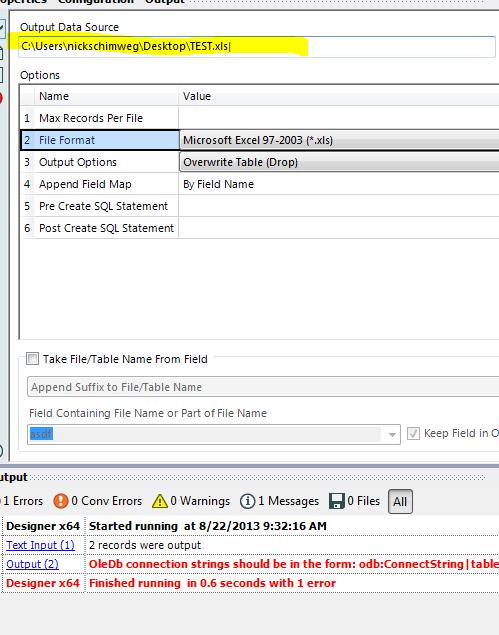 Error message when saving output file - Alteryx Community
