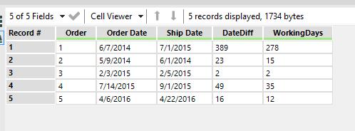 Datetimediff using only weekdays/business days - Alteryx