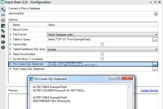 Create Database Table Primary Key in Alteryx - Alteryx