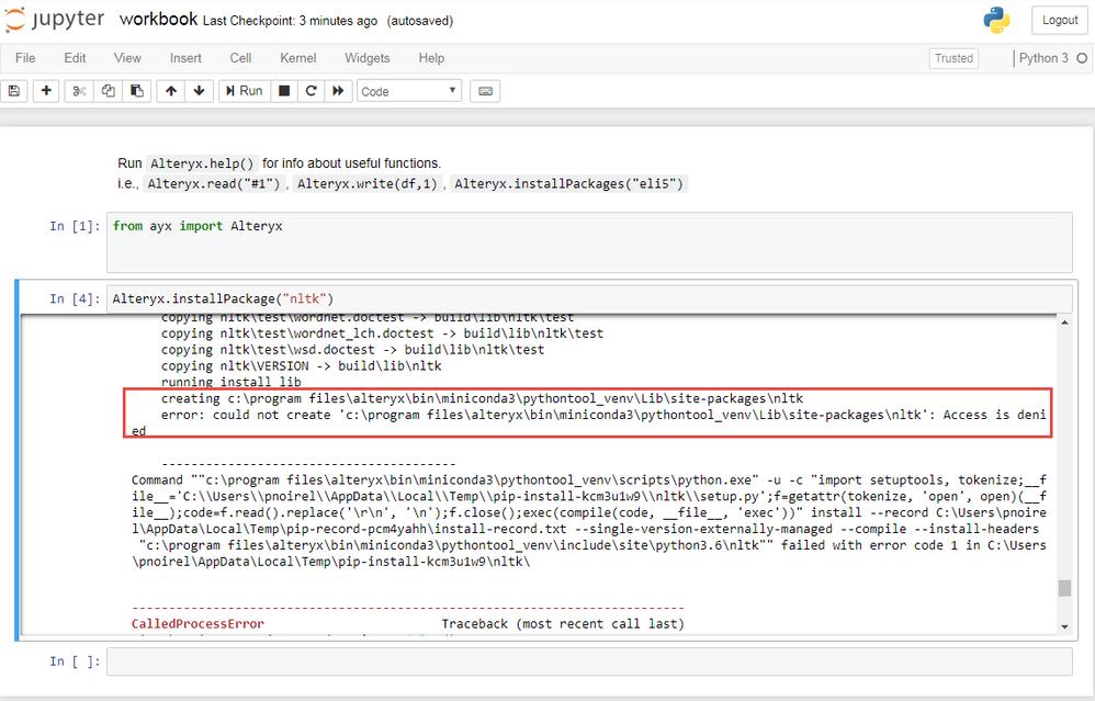 Solved: Importing NLTK in python tool - Alteryx Community