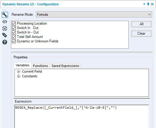 Solved: Removing spaces, special symbols in header - Alteryx