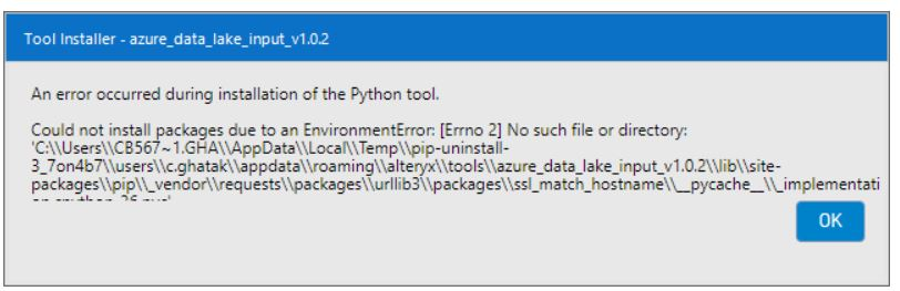 error while installing the ADLS connector - Alteryx Community