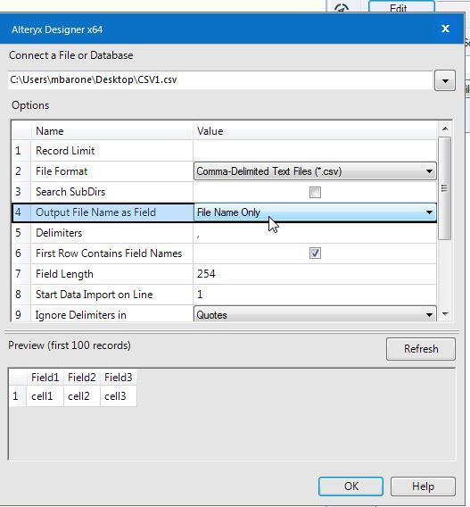 Solved: Add the filename to a table - for each record - Alteryx