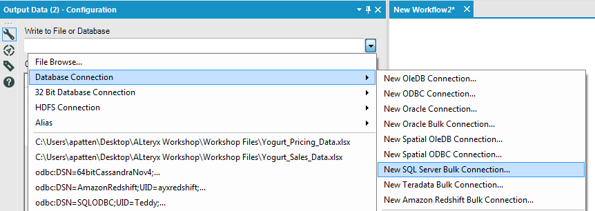 Bulk write in the standard Output tool is accessed through the SQL Server Bulk Connection option in Alteryx Analytics 10.5