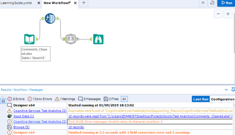 Error while using Microsoft Cognitive services tool for text analytics