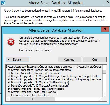 Troubleshooting a Failed MongoDB Migration - Alteryx Community