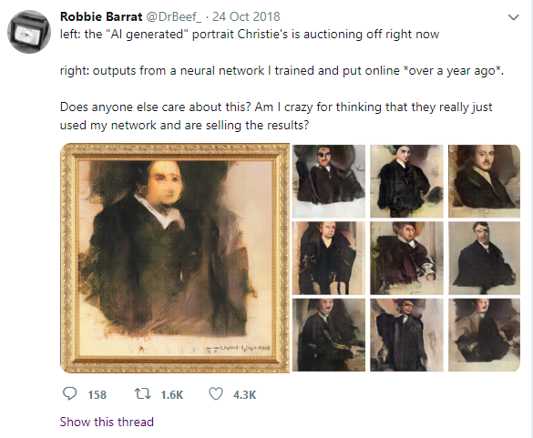 A post from Robbie Barrat (@DrBeef_)'s Twitter account