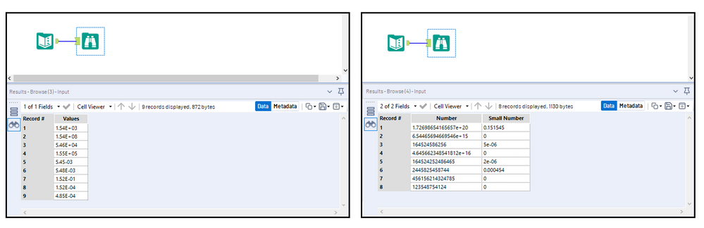 Figure 1: Depending on its size and the selected field type, a number may maintain scientific notation formatting. Left: Files brought in as a .csv contain scientific notation as a string field type. Right: Sample data from an .xlsx file type contains scientific notation as a numeric field type (double).