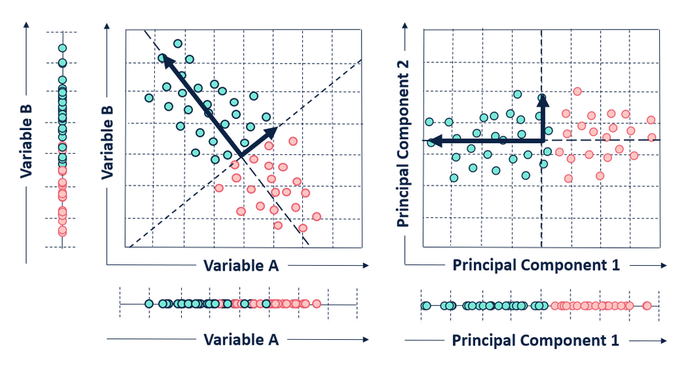 In this visual, Principal component 1 accounts for variance from both variables A and B.