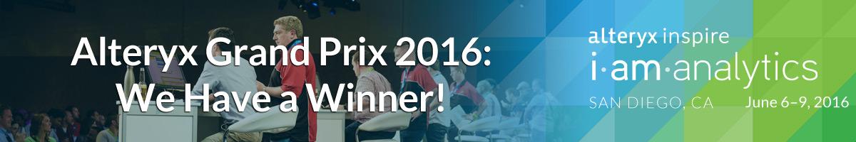 Alteryx Grand Prix 2016: We Have A Winner!