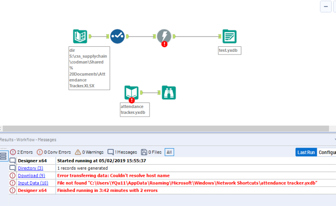 URGENT: Connecting alteryx to excel files on Share