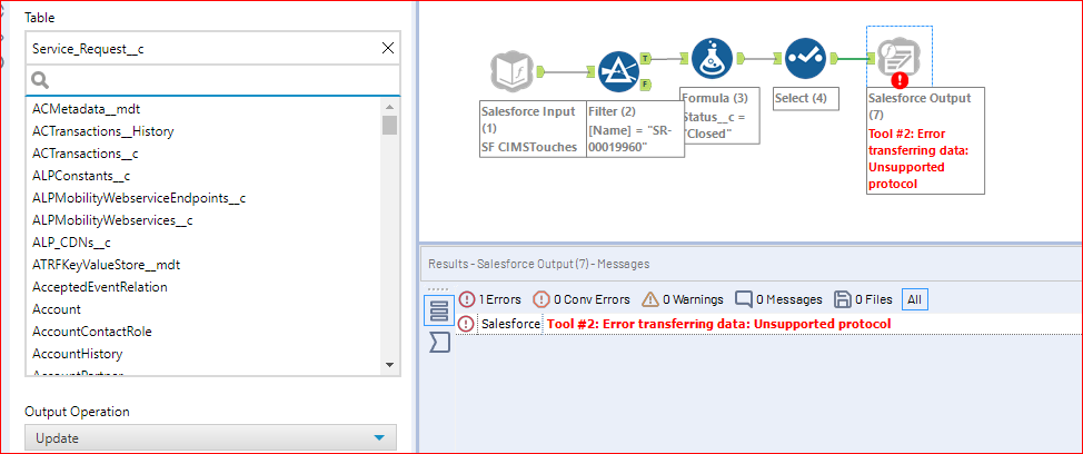 Salesforce output tool to update a field value - Alteryx