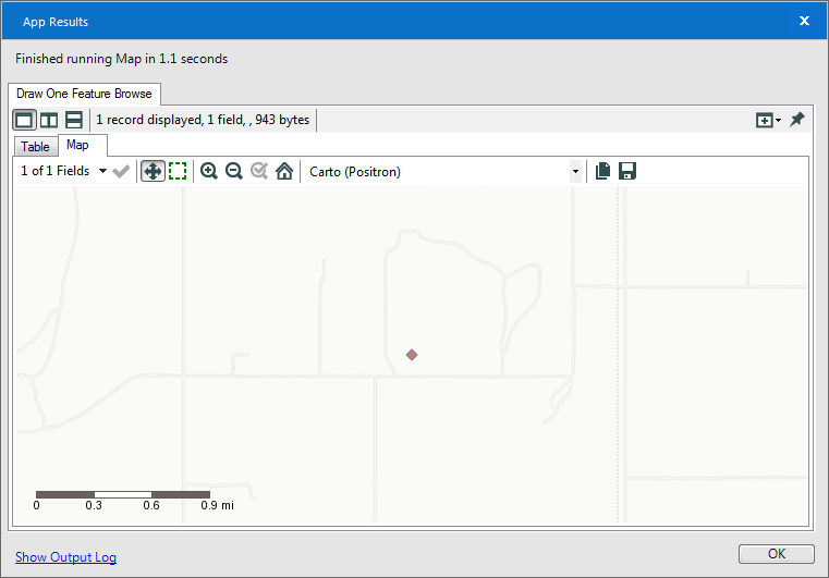 Result window after manually selecting base map, so it is available on the system