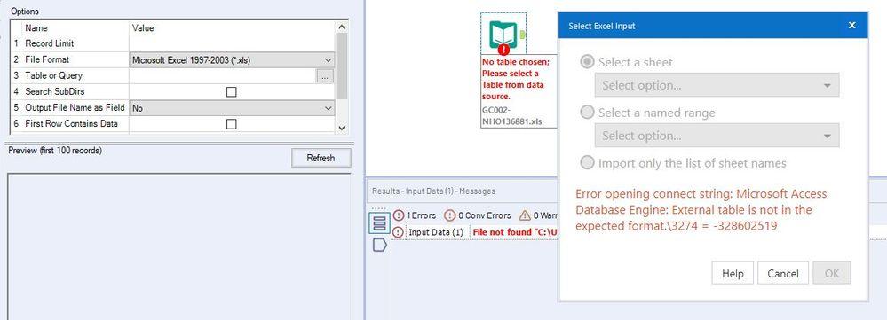 microsoft database engine external table not expec