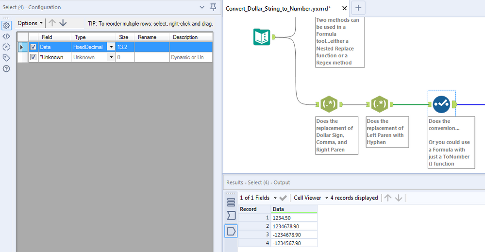 Converting a string with a $ sign into a number - Alteryx