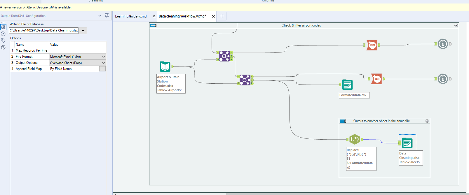 Problem when writing output to the input file - Alteryx Community