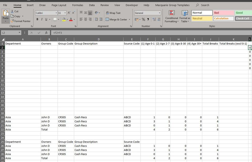 Append Data on an existing Excel Template with For