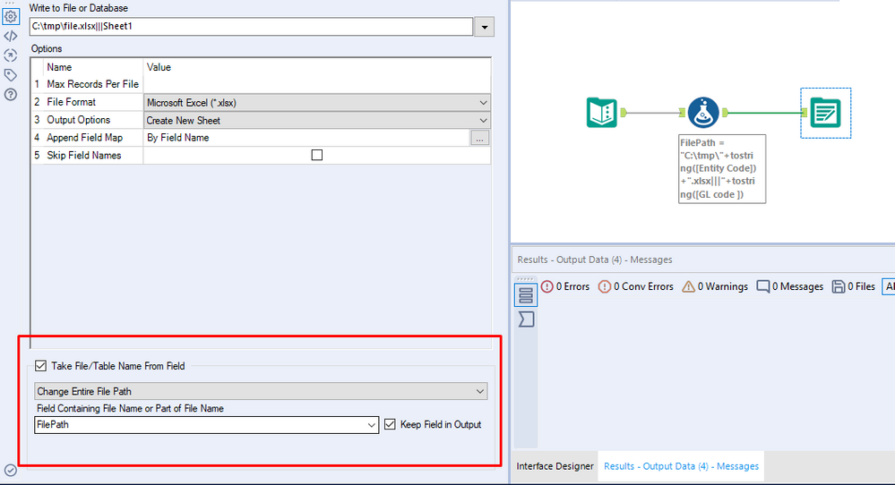 Output to multiple Excel with multiple sheets - Alteryx