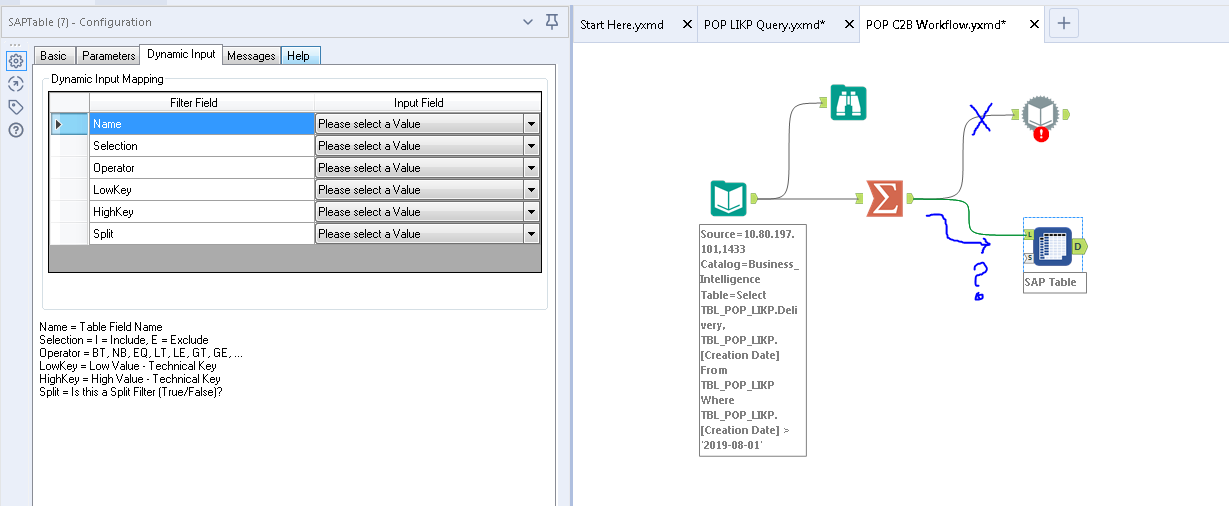 Alteryx Workflow to pull records from ssms and ent