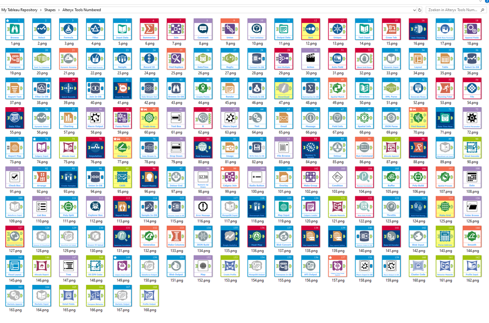 I used numbered file names 001 to 168 in order to assign them as shapes within Tableau
