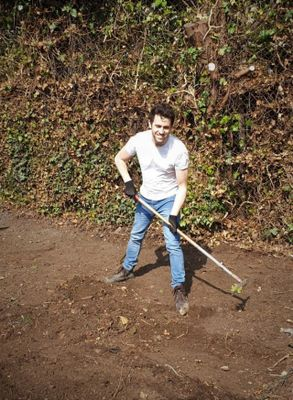 Removing leaves from the ground. One at a time.