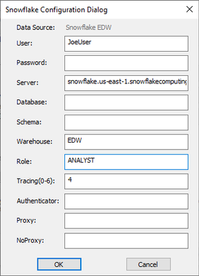 Snowflake configurations typically require a Warehouse name and Role, rather than a Database name.