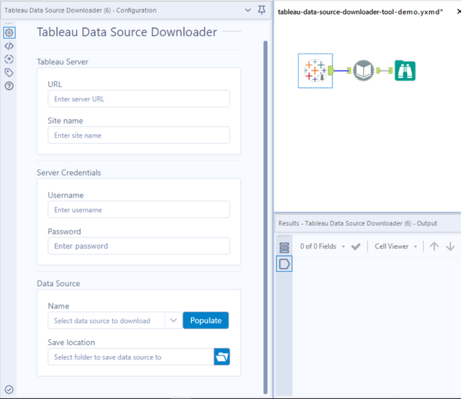 Tableau Data Source Downloader demo workflow